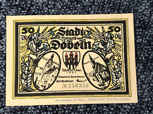 Old German Money - GERMANY NOTGELD - DOBEIN -   50 PFENNIG Serial No. 256336