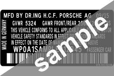 Porsche Data Sticker Pillar VIN Tag Dash ID Door Jamb Decal Certification Label