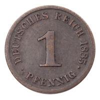 1885-J Germany 1 Pfennig Very Fine Condition KM #1