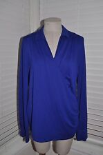 TALBOTS Women's sz M Cobalt Jersey Long Sleeve Blouse Top ~ Surplice/Ruched Side