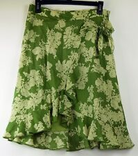 Banana Republic Green Floral Cotton Lawn Lined Ruffle Wrap Knee-Length Skirt 4