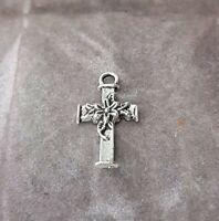 Rare Vintage Tiny Dainty Silver Tone Cross Crucifix Pendant Costume Jewellery