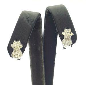 Ladies Earrings 14ct (585, 14k) White Gold Natural Diamond Round Hoop