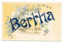 ANTIQUE UDB LARGE LETTER POSTCARD BERTHA SAILBOAT BLUE FORGET ME NOTS FLOWERS