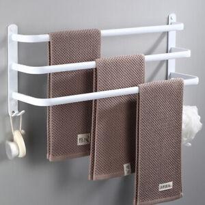 Wall Mounted Metal Towel Hanger Rack Holder Bar Shelf White Storage Shower Rail