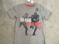 GAP -GREY T.SHIRT WITH RUGBY PICTURE ON FRONT & SLOGAN IN RED/WHITE -6-7y - BNWT