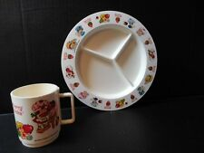 Vintage 1980 STRAWBERRY SHORTCAKE Plastic DIVIDED PLATE & MUG Deka Dishes