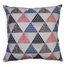 LL410a White Black Light Grey Blue Red Traingle Cotton Canvas Cushion Cover