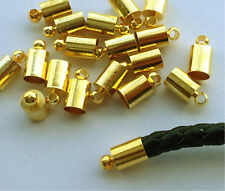 Gold plated  Brass Barrel Cord Multi-size Kumihimo Glue  End Caps SZ 6mm 20PCS