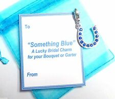 Good Luck Something Blue Horseshoe Charm for Bouquet/Garter +Gift Card & Bag