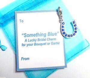 Good Luck Something Blue Horseshoe Charm for Bouquet/Garter +Gift Card & Bag