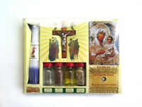 Holyland set -  Icon Holy Water Soil Olive Oil Bottles Candles, Cross and stone