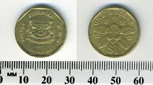 Singapore 1997 sm - 1 Dollar Aluminum-Bronze Coin - Arms - Periwinkle flower