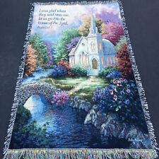 """Nicky Boehme 50 X 60"""" Tapestry Throw """"a Church in The Country"""" 100 Cotton USA"""