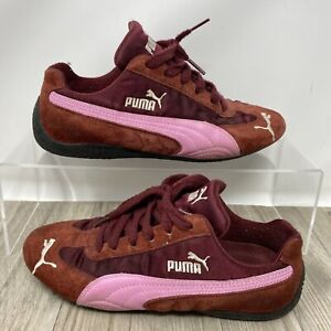 Puma Red Trainer Shoes w/Pink Leather & Red Satin detail. UK Size 4. EXC CON.
