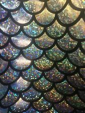 SILVER SPARKLE MERMAID SCALE  HOLOGRAM 4-WAY STRETCH SPANDEX FABRIC BY THE YARD