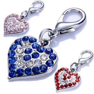 Fashion Heart Shaped Dog Collar Charm Rhinestones Pendants Tag Dog Accessories