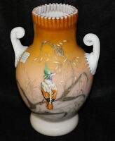 Mt. Washington Art Glass Peach Satin Enameled Colorful Bird Vase