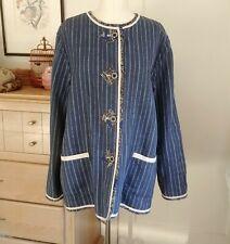 Koos Reversible Linen Kimono Jacket POCKETS Navy blue Ivory Batik Trim LARGE