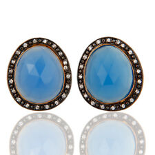 18K Yellow Gold Plated Blue Chalcedony Gemstone Cubic Zirconia Earrings Jewelry