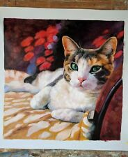 Hand Painted Commission Cat Oil Painting From Photo , Custom Pet Portrait Art