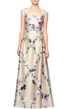 Kay Unger Luminous Painterly Floral Print Square Neck Ball Gown Dress 10NWT