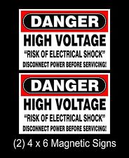 DANGER HIGH VOLTAGE 4 x 6 MAGNETIC SAFETY SIGNS (Qty-2) Construction Work Site