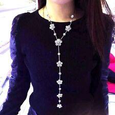 Flower fringe pendant long necklace silver UK