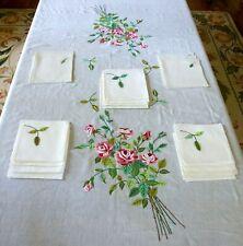Vintage Linen Roses Applique Tablecloth + 12 Dinner Napkins 12 Cocktail Napkins