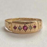 Antique Victorian 15ct Gold Diamond & Ruby Ring Birmingham 1892 Size L.5