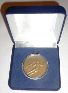 1964 Olympic Games Tokyo Large Plastic Token Javelin Throw & Olympic flame & Box