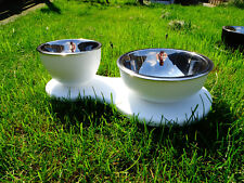 Stainless Steel Double Pet Bowl Dog Cat Twin Dish Water Food Feeder Station UK
