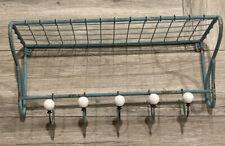 "24"" Blue Metal Wire Wall Mount Bathroom Shelf with 5 White Knobs Hooks"
