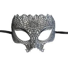 Masque érotique dentelle noir et argenté semi rigide déguisement soirée coquine