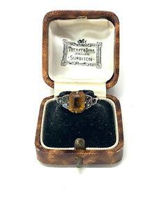 Lovely Antique Art Deco 9ct Yellow Gold Sterling Silver Citrine Paste Ring #48