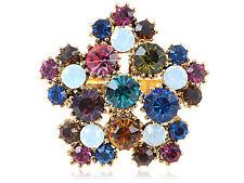Multi-Coloured Genuine Rhinestone Bursting Flower Adjustable Fashion Ring Jewel