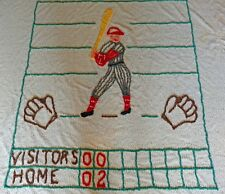 Vintage 1950's White Chenillle Baseball Bedspread with batter and scoreboard
