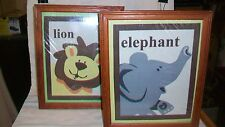 Pair of Whimsical Lion & Elephant Framed Cloth Pictures for Childs Room