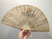 Ancien éventail gouache et dentelle XIXème - décor romantique