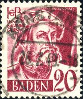 """ALLEMAGNE 1948 Französische Besetzung BADEN 1949 """"KONSTANZ"""" date stamp on Mi.34"""