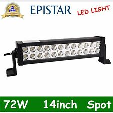 2X 14'' 72W LED WORK LIGHT BAR SPOT FOG DRIVING LAMP SUV JEEP TRUCK 12V 24V 120W