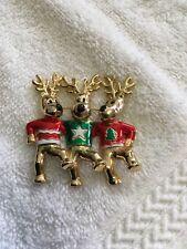 Enamel Reindeer Brooch