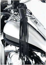 Pair Black Leather Motorcycle 11 Inch Tassel Fringe Handlebars Hand Grip Covers