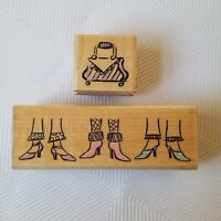 Stampabilities Fashion Rubber Stamps Shoes Handbag Wood Mounted New