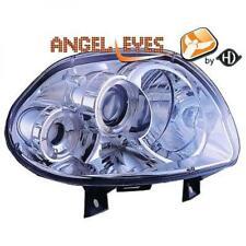 LHD phares de projecteur Paire Angel Eyes clair chrome pour RENAULT CLIO II 98-01