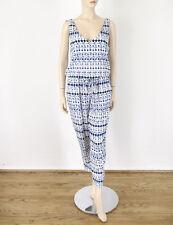 a1eaa36a0b8 Ella Moss Printed Jumpsuit Jumper V-Neck Blue White Tie Waist L 8493