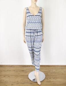 Ella Moss Printed Jumpsuit Jumper V-Neck Blue White Tie Waist L 8493