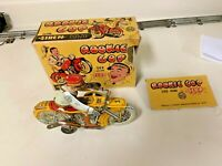 Vintage  Marx 1940s Tin Windup Rookie Cop Motorcycle with box
