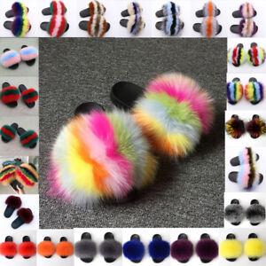 Luxury Large Fluffy Real Fox/Raccoon Fur Women Slippers Shoes Flat Slides Sandal