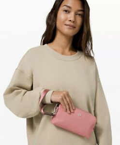 NWT Lululemon Now and Always Pouch Deco Pink leather trim Double Up Strap wallet